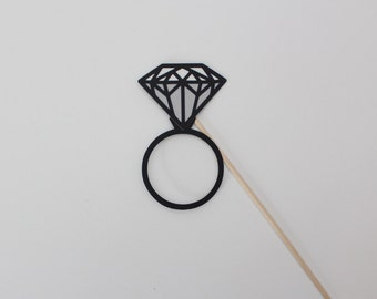 Diamond Ring Photo Booth Prop Two Toned Detailed Engagement Stud Photobooth Props