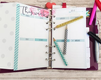 Week on two page calendar • undated • Filofax personal size • A5 • DIGITAL printable