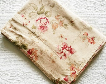 Vintage Romantic Home Pomegranate Red, Cafe au Lait, and Celadon Green Rose Adorned Table Linen, Olives and Doves