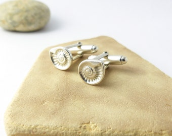 Silver Cufflinks - Science Cufflinks - Father's Day Gift - Fossil Ammonite Jewelry - Wedding Gift Husband - Mens Jewellery - Groom Cufflinks