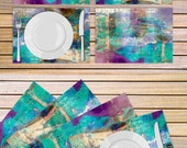 Set of 4 abstract art tablemats printed on vinyl material - Turquoise and purple Table linen - Housewarming gift idea