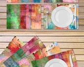 Rainbow color table linen - Set of 4 artistic placemats printed on vinyl material - Housewarming gift idea