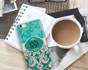 Floral Iphone case, Monogrammed gifts, iPhone 7 case, iPhone 8, iPhone 7 Plus, iPhone 8 Plus Teal grunge damask, Gifts for women (9697)