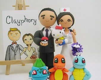 Pocket monsters theme with nurse custom wedding cake topper