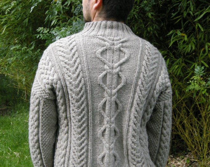irish sweater - mens aran sweater - aran jumper - cable knit sweater - handknitted jumper - celtic mens sweater - luxury yak & merino yarn