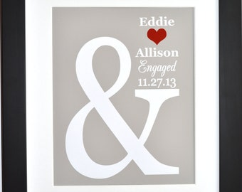 Engagement gift, bride to be wedding gift present anniversary housewarming bridal shower gifts unique personalized art custom print poster