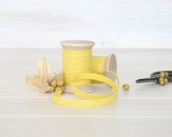 "Lemon Cotton Ribbon - 5, 20 or 109 Yards - 100% Cotton Ribbon - 1/4"" wide - Lemon Trim - Eco Friendly Trim - Lemon Ribbon - Ribbons Bulk"