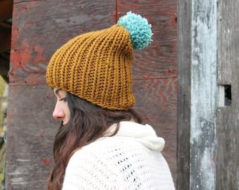 Chunky Knit Pom Pom Winter Hat . Slouchy Hand Knit Beanie  .  Wool Free Knit Wear   {  Cinnamon & Seafoam  }