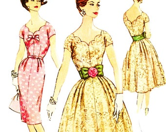 Simplicity 3045 Vintage 1950s Scalloped Neckline Evening Dress with Slim or Pleated Full Skirt and Bow Belt sewing Pattern Sz 18