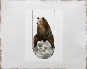 Moon Bear Animal Print -- Woodland Animal Illustration // Limited Edition Art