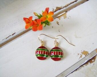 Glazed metal Christmas ornament earrings - Christmas ornament jewelry - festive bauble earrings - festive jewelry - metal charm earrings