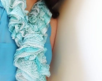 ICY MINT Scarf, Ruffle Scarf, Winter Scarf, Winter Accessory, Mint Accessory, Gift For Her