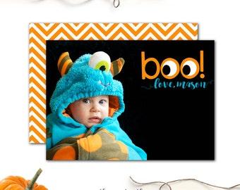 Halloween Photo Card, Children's Happy Halloween Card with Picture, Halloween Photo Card, Boo! Photo Card, Black, Orange, Chevron