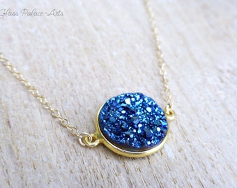 Blue Druzy Necklace, September Birthstone, Blue Crystal Necklace, Gold Drusy Jewelry, Sapphire Blue Sparkle Necklace, Crystal Pendant Gift