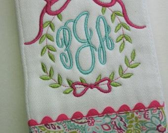 Monogrammed Baby Girl Burp Cloth