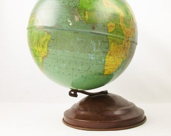 "1940s Vintage 8"" Replogle 'Our Natural World' Globe - Chicago, IL - Gustav Bruekmann - 1940s - Vintage Patina - Metal, Faux Wood Base"