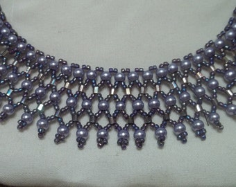 Violet beaded collar necklace