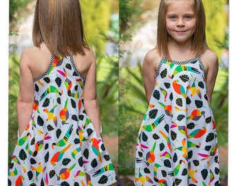 SUNDRESS Girls summer dress sewing pattern Rio Top & Dress sizes 4 to 14, 5 style options, childrens dress and top pattern, sundress pattern