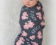 Vintage Floral Design – Personalized Swaddle Blanket / Baby Name Blanket