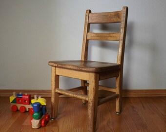 School Chair ~ Kindergarten Chair ~ Wood School Chair ~ Vintage Child's Chair ~ Photography Prop