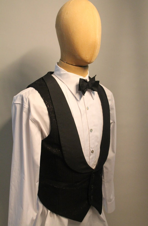 1900s Edwardian Men's Suits and Coats 1920s style mens evening waistcoat in Italian silk formal waistcoat black evening vest  AT vintagedancer.com