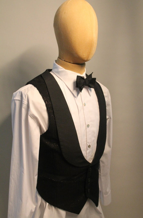New Vintage Tuxedos, Tailcoats, Morning Suits, Dinner Jackets 1920s style mens evening waistcoat in Italian silk formal waistcoat black evening vest  AT vintagedancer.com
