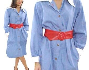 Vintage 60s Marc of California Trapeze Shirt Dress