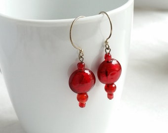 Red Earrings, Boho Chic Earrings, Bohemian Jewelry, Handcrafted Jewelry, Red Lampwork Glass, Silver Red Earrings, Gifts for Her,