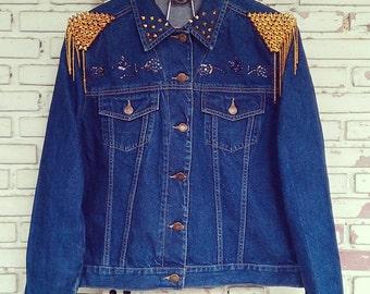Hand Reworked Studded Vintage Jean Jacket / Studded Jean Jacket Women Size: M