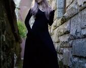 Gothic Dress, Medieval Dress, Witch Dress - Black Maxi Dress, Renaissance Faire Dress, Festival Dress, Long Black Dress, Long Sleeve Dress