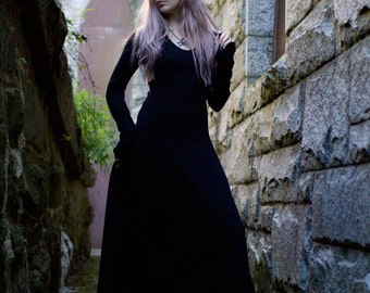 Gothic Dress - Medieval Dress - Goth - Witch Dress - Black Maxi Dress - Renaissance Faire - Festival Dress - Long Black Dress - Long Sleeved