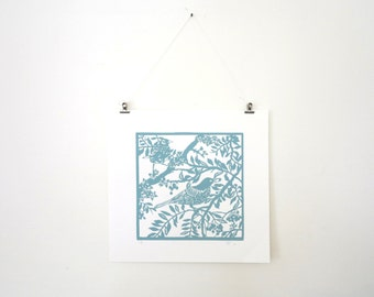 Silk screen print Birds in Branches - Hand pulled screenprint of original paper cut - Print of Papercutting art - gift for outdoorsy friend