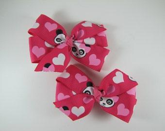 Pink Panda Bear Pigtail Bows, Animal Hair Clip Set, Zoo Birthday Party, Panda Hair Barrette, Zoo Baby Shower, Panda Bear Twin Hair Bows