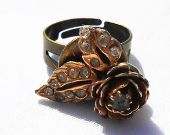 Gold Rose Ring - Rhinestone Rose Ring - Upcycled Ring - Recycled Jewelry - Antique Gold Jewelry - Flower Ring - Upcycled Jewelry -Assemblage