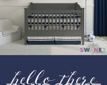 Hello There Handsome Print,Boys Nursery Print,Navy, Gray and White DIGITAL FILE