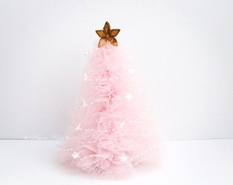 Tulle Christmas Tree, Pink Christmas Tree, Christmas Gifts, Holiday Tree,  Gold Star, Shabby Decor, Holiday Decor, Home Decor
