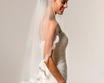 Alencon Lace Veil, fingertip veil, lace bridal veil, ivory lace veil, scallop lace veil, bridal accessories