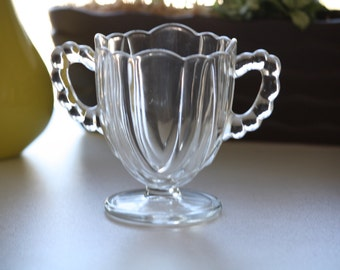 Vintage Small Glass Candy Dish -- Vintage Glass Trinket Dish -- Bubble Handles