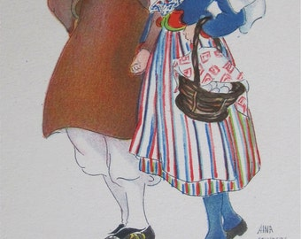 Original Aina Stenberg Masolle Artist Signed Postcard - Swedish Couple Traditional Costume - Free Shipping