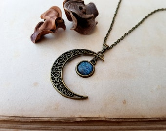 Crescent Moon Necklace, moon necklace, moon jewelry, moon choker, layering necklace, Taurus, Libra, Virgo Capricorn Aquarius Pisces Ice Teal