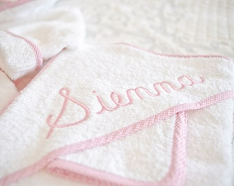 Monogrammed Towel | Personalized Hooded Baby Towel | Gingham Trimmed Velour Terry Bath Towel