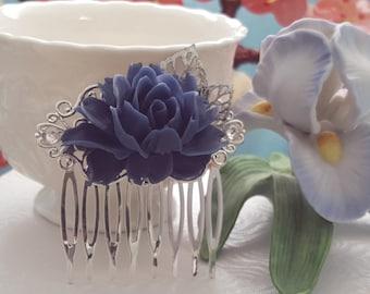 Navy Blue Bridesmaid, Dark Blue Hair Comb, Navy Blue Wedding, Silver Leaf, Dark Blue Bridesmaid, Blue Maid of Honor, Dark Blue Wedding H2006