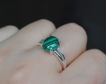 Malachite Ring - Malachite Jewelry - Sterling Silver Malachite Ring