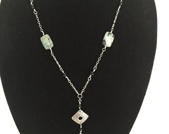 Kiwi Jasper Wire Wrap Necklace