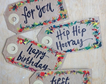 Pack of 4 hand-painted gift tags