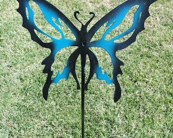Metal butterfly yard art