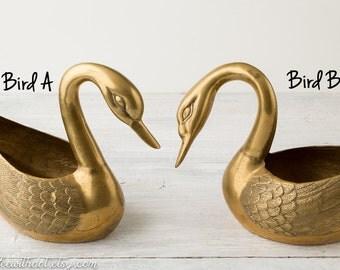 One Large Brass Planter -- Swan Flower Pot -- Large Indoor Planter -- Brass Plant Pot -- Brass Planter -- Flowerpot