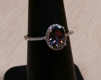 Mystic Topaz Ring Sterling Silver Gemstone size 4 5 6 8 9 10