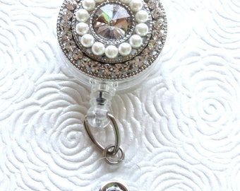 Crystals and Pearls ID Badge Reel/Nurse/Doctor/Medical/Teacher/School/Office/Brooch/Jewelry