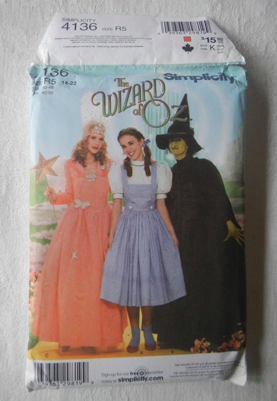 Uncut Simplicity Wizard Of OZ Costume Sewing by ...